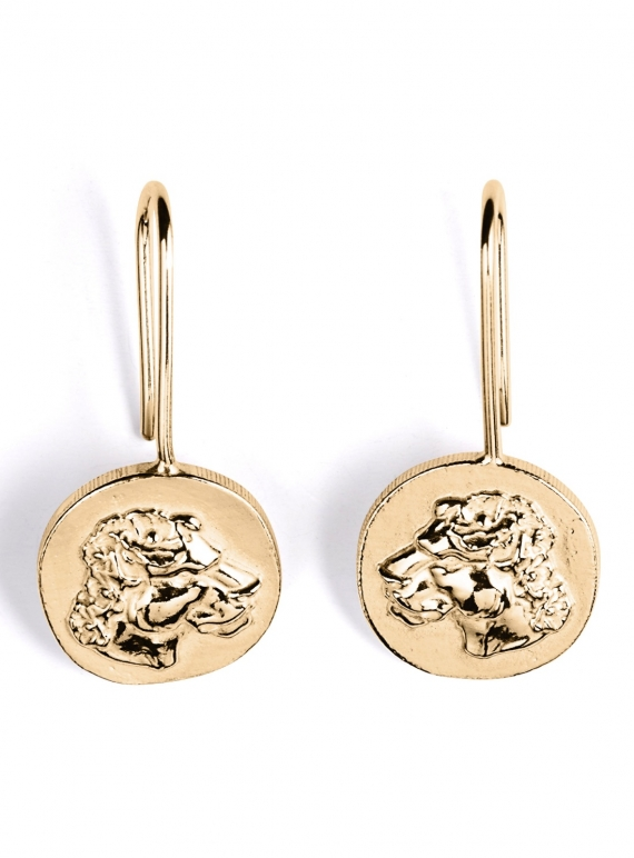 Young British Designers: Gold Lioness Drop Earrings by Mikaela Lyons