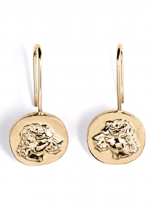 Gold Lioness Drop Earrings by Mikaela Lyons