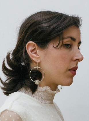 Young British Designers: Silver Lioness Hoop Earrings by Mikaela Lyons