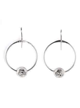 Silver Lioness Hoop Earrings by Mikaela Lyons