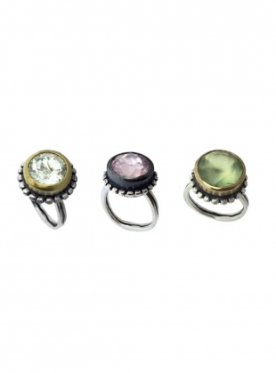 Young British Designers: PALLENBERG COCKTAIL RING IN GREEN PREHNITE by Peculiar Vintage