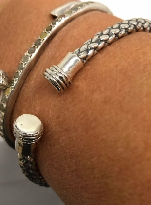 Young British Designers: SOLID RECYCLED SILVER DEA DIA BANGLE- last one  by BOODI Jewellery
