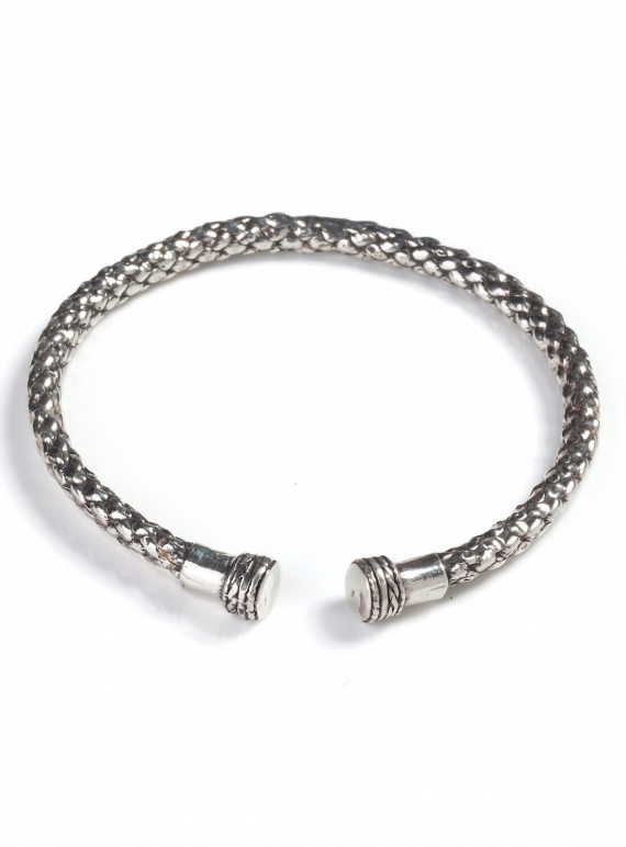 Young British Designers: SOLID RECYCLED SILVER DEA DIA BANGLE. Last one by BOODI Jewellery