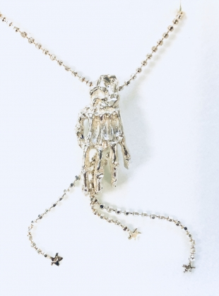 Young British Designers: Silver SKELETON Hand Necklace by Clio Peppiatt