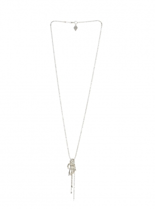 Silver SKELETON Hand Necklace by Clio Peppiatt