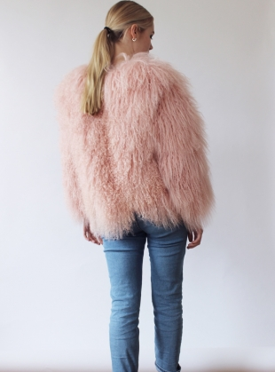 Young British Designers: Matilda Shearling Jacket in Powder Pink - Last one (12) by Florence Bridge