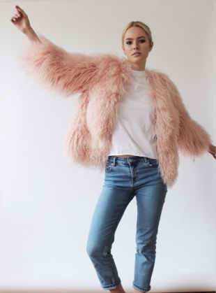 Matilda Shearling Jacket in Powder Pink - Last one (14) by Florence Bridge