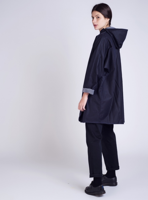 Young British Designers: BATWING Waxed Cotton Coat in Navy and Regatta by Kate Sheridan