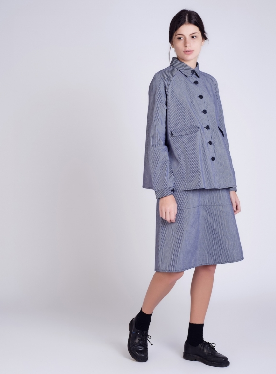 Young British Designers: Regatta Stripe A-Line Jacket  by Kate Sheridan