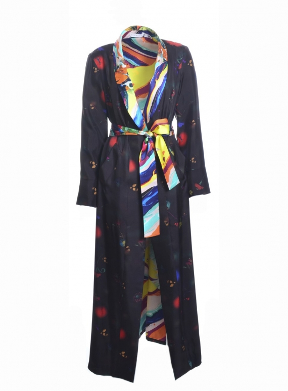 Young British Designers: Long Silk CARRIE Coat in Dark Floral Explosion and Magma - last one by Klements