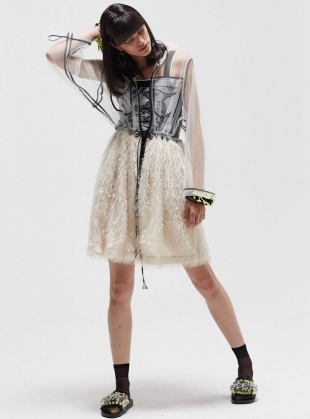 CREAM WITH LACE CONTRAST FRINGE PARKA DRESS - last one by Longshaw Ward