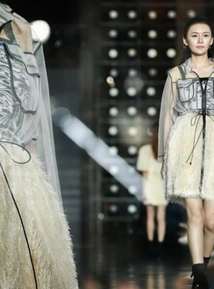 Young British Designers: CREAM WITH LACE CONTRAST FRINGE PARKA DRESS - last one by Longshaw Ward