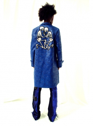 Young British Designers: LILITH Mock Croc Embroidered Coat by Clio Peppiatt