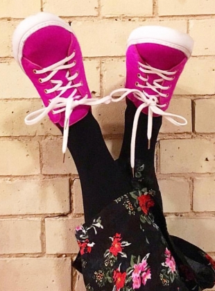 Young British Designers: HOT PINK SWEETHEART SNEAKERS by Rogue Matilda