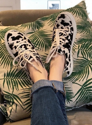 Young British Designers: COW PRINT SWEETHEART SNEAKERS - last pair (37) by Rogue Matilda