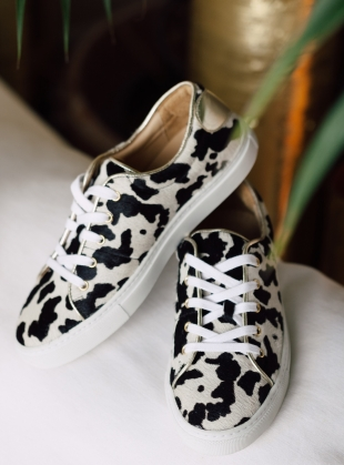 Young British Designers: COW PRINT SWEETHEART SNEAKERS - last pair by Rogue Matilda