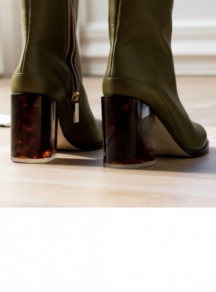 Young British Designers: SPIRIT Boot in Olive/Tortoise (Limited Edition) by Dear Frances
