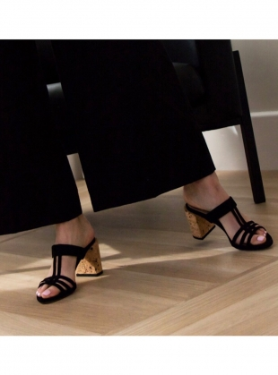 Young British Designers: High TEE Heel in Black/Cork by Dear Frances