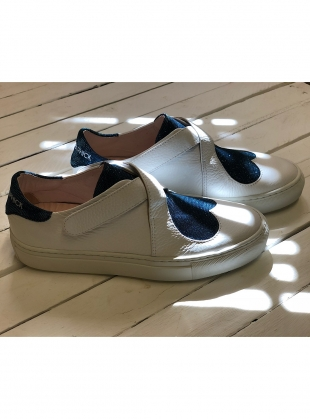 Young British Designers: HEART AND SOUL SNEAKER IN WHITE/DISCO SAPPHIRE by Camilla Elphick