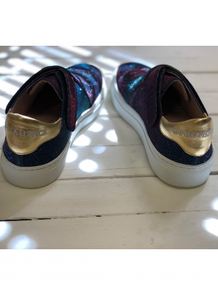 Young British Designers: HEART AND SOUL SNEAKER IN DISCO BLUE ORCHID by Camilla Elphick