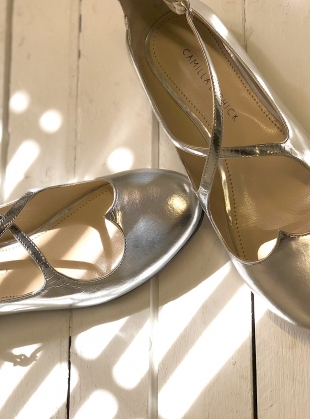 Young British Designers: LOVER FLAT PUMPS IN SILVER by Camilla Elphick