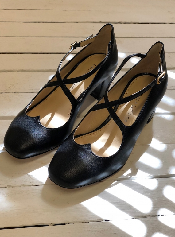Young British Designers: LOVER MID-HEEL BLOCK PUMPS IN BLACK by Camilla Elphick