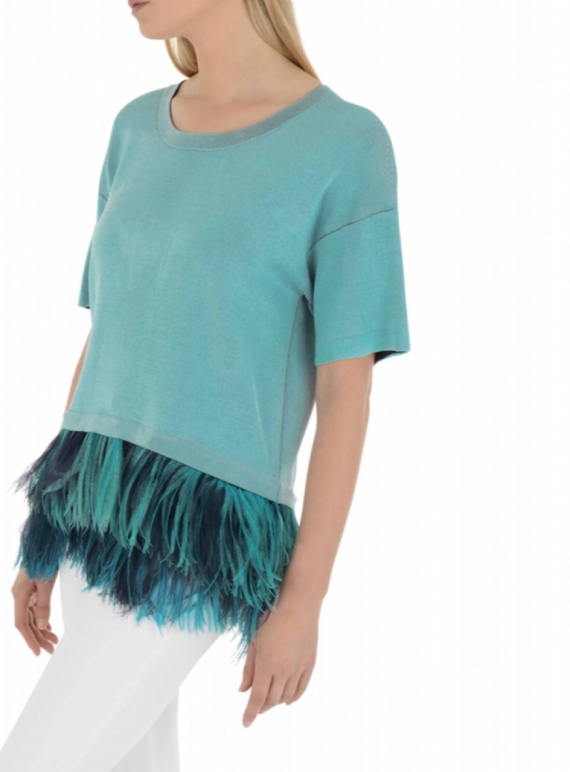 Young British Designers: Short Sleeved Aqua Knit with Ostrich Feathers by in.no