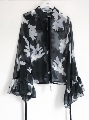 Young British Designers: EVA SILK RUFFLE SHIRT  by Florence Bridge