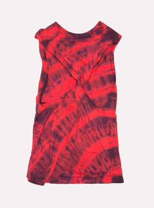 Young British Designers: Twisted Tie Dye Vest Red/Navy  by Aries