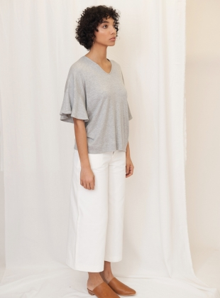 Young British Designers: ESTER Lyocell Jersey Top in Grey Marl by Beaumont Organic