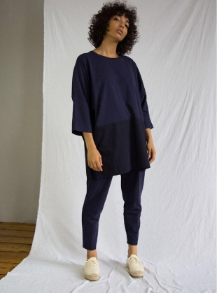VALERY Organic Cotton Oversized Top in Navy by Beaumont Organic