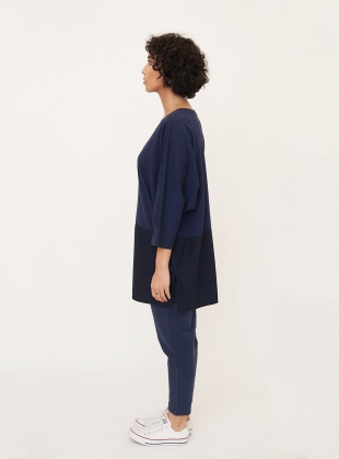 Young British Designers: VALERY Organic Cotton Oversized Top in Navy by Beaumont Organic