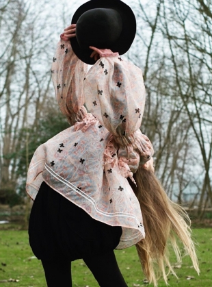 Young British Designers: ROMANCE TOP with RUFFLES & STRINGS - last one by Renli Su