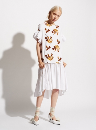 Young British Designers: JERSEY PRINT TEE with FRILL SLEEVE by Teija Eilola