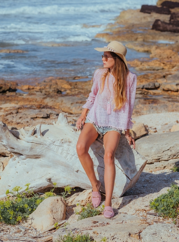 Young British Designers: DEIA Embroidered Lace Blouse Pink by Ziiga