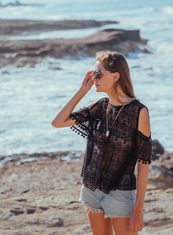 Young British Designers: ALCUDIA Embroidered Lace Blouse Black by Ziiga