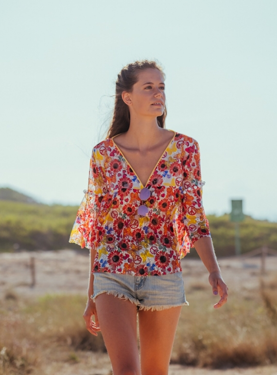 Young British Designers: MEADOW PRINT BUTTERFLY Blouse by Ziiga