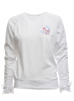LUNA Embroidered Jumper White by Clio Peppiatt