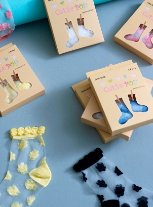 Young British Designers: Blue Morning Glory Socks by Cutie Pop