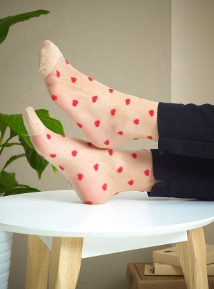 Romantic Nude Red Hearts Socks by Cutie Pop