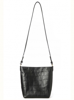 Young British Designers: Nora Mini Shoulder Bag in Black Croc Leather - Last one by Danielle Foster