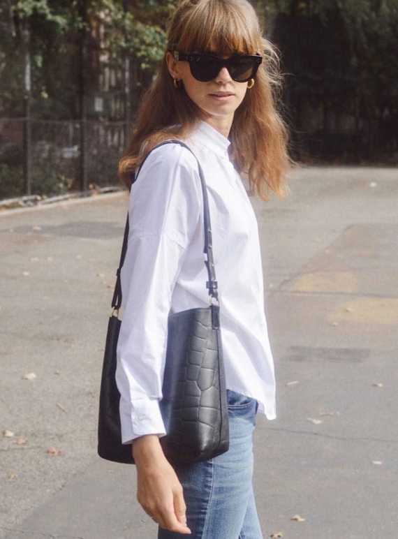 Young British Designers: Nora Mini Shoulder Bag in Black Croc Leather by Danielle Foster