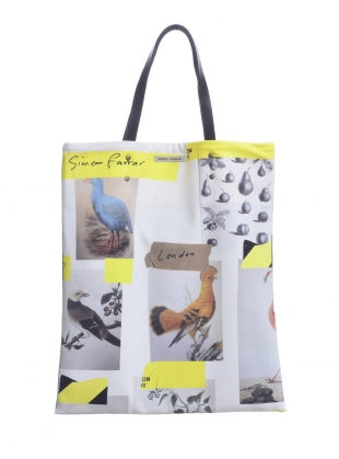 Young British Designers: VISCOSE TOTE BAG with BIRDS by Simeon Farrar