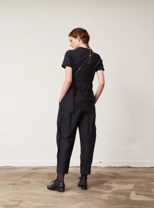 Young British Designers: Black Pinstripe Dungarees by Renli Su
