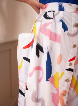 Young British Designers: BOTANY SKIRT. White Print by LF Markey