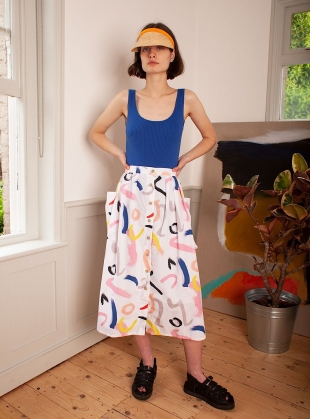 BOTANY SKIRT. White Print by LF Markey