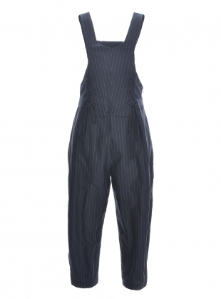 Black Pinstripe Dungarees by Renli Su