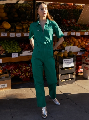 DANNY SHORT SLEEVED BOILERSUIT. Green by LF Markey