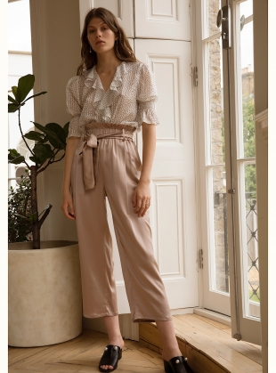 Young British Designers: VINTAGE ROSE TROUSERS. Pale Pink by Kelly Love