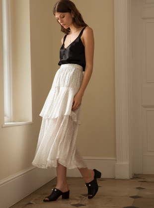 DANCING LIGHT SKIRT. White Dot by Kelly Love